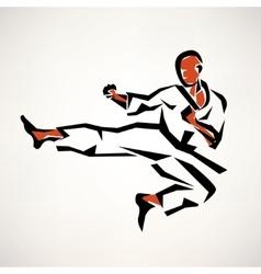 karate fighter stylized symbol outlined sketch vector image