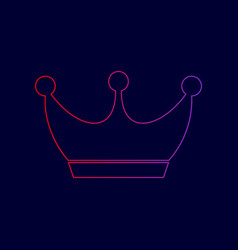 king crown sign line icon with gradient vector image
