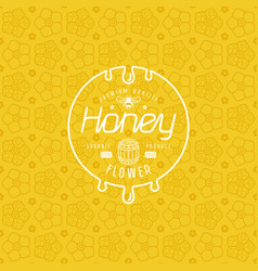 label for honey and flower seamless pattern vector image