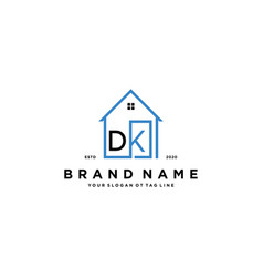 Letter dk home logo design concept vector