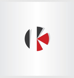 Letter k red black circle icon logo vector