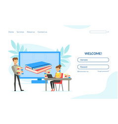 library web page template button fields vector image