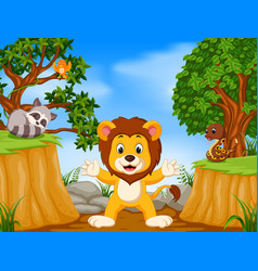 Lion and wild animal with mountain cliff scene vector