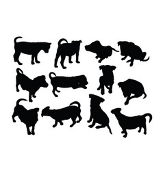 little dog silhouettes vector image
