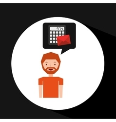 man business message calculator email vector image