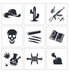 Mexican cartel Icons Set vector