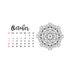 Monthly desk calendar template for month october vector
