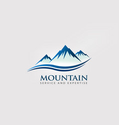 mountain peaks with double wave logo vector image