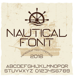 Nautical hand crafted typeface poster vector