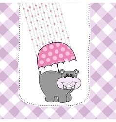 New baby invitation with hippopotamus vector