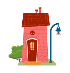 one of set of cute cartoon houses in child style vector image