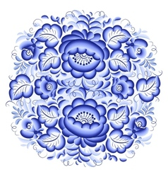 Ornate blue and white floral circle vector