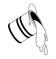 Paint bucket spilling in black dotted contour vector