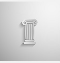 Paper 3d ancient column icon with long shadow vector