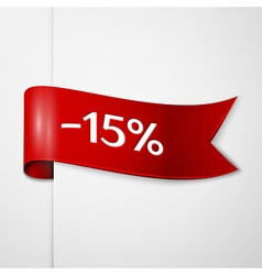Red ribbon with inscription 15 percent discounts vector