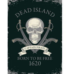 retro banner with pirate skull swords and pistols vector image