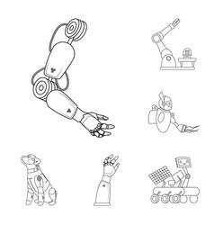Robot and factory logo vector