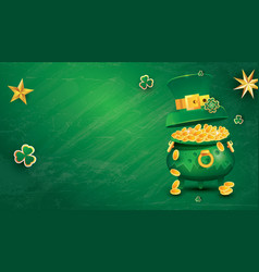 Saint patricks day festive banner with pot filled vector