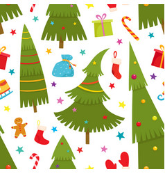 Seamless pattern with cartoon christmas tree vector