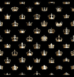 seamless pattern with golden crowns vector image