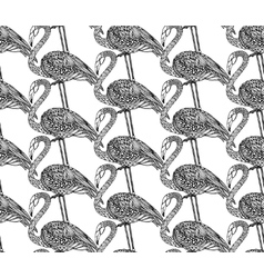 Seamless pattern with hand drawn flamingo birds in vector