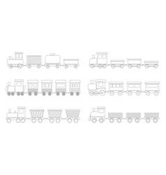 set contours kid trains vector image