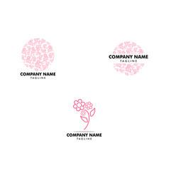 set flower abstract logo design template vector image