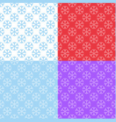 set of seamless patterns with snowflakes vector image