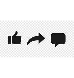 Share like comment icon button social notification vector