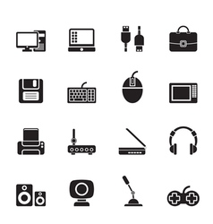 Silhouette Computer equipment and periphery icons vector image