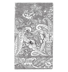 Silk scarf was designed in france it has a floral vector