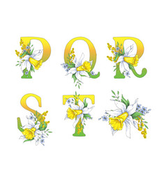 Spring bright letters with daffodils and forget-me vector