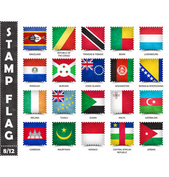 Stamp with official country flag set 8 12 vector