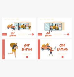 stop looting landing page template set aggressive vector image