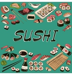 Sushi Hand drawn style vector