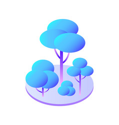 Trees and bush with branches on circle area icon vector