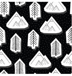 Trees and mountains black and white seamless vector