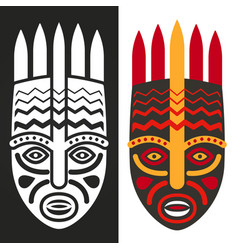 Tribal maya african masks vector
