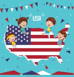 Usa flag and kids vector