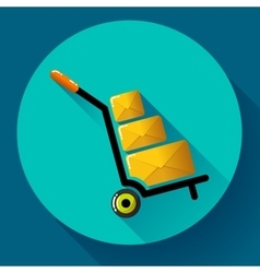 Warehouse Trolley flat 20 long shadow icon vector image