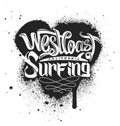 west coast surfing print for apparel vector image