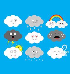 White dark cloud emoji icon set fluffy clouds sun vector