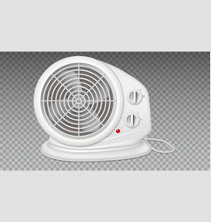 White electric heater with fan radiator appliance vector