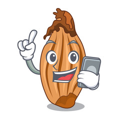 with phone cartoon shallot onion on the table vector image