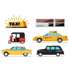 World taxi car and vehicle isolated set vector