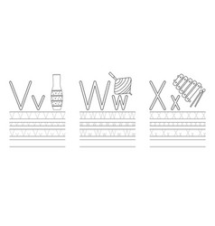 writing practice letters vwx coloring book vector image
