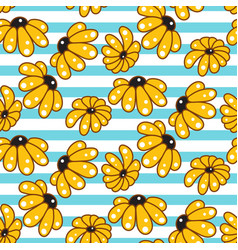 Yellow chamomile striped blue seamless pattern vector