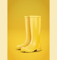 Yellow rain boots vector