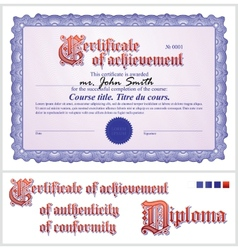 Blue certificate Template Horizontal vector image vector image