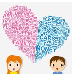 Boys and girls thoughts vector image
